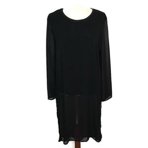 Lior Tunic Black With Black Sheer Hi Low Overlay